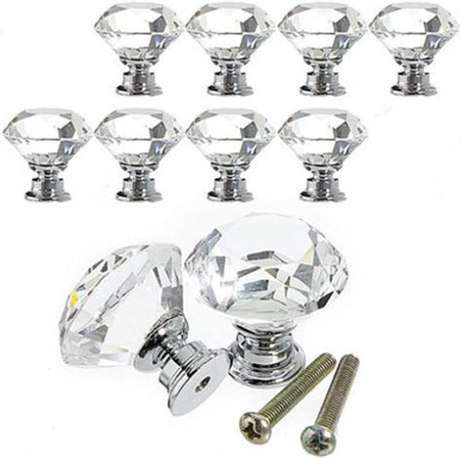 Drawer Cabinet Knob Pull Handle Kitchen Cupboard Drawer Dresser Bookcase Pull Diamond Shape Crystal Cupboard Knobs with Screws 10 Pieces