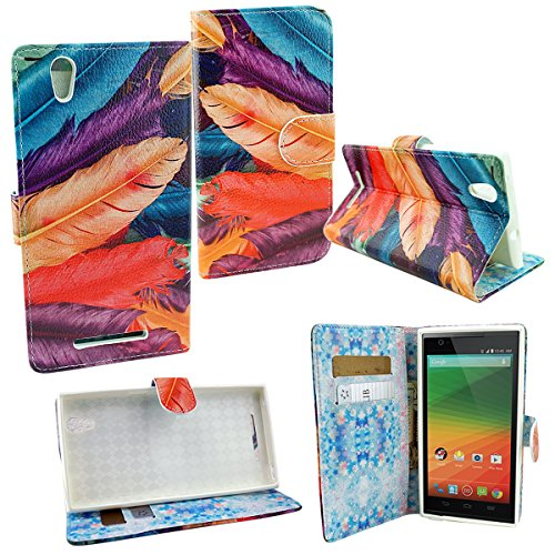 Mstechcorp- ZTE ZMAX Z970 (T-Mobile) Wallet Pouch Case, Two Tone PU Leather Flip Wallet Credit Card Cover Case - Includes [Car Charger] + [Touch Screen Stylus] + [Hands Free Earphone With Carrying Case] + [2 Data Cables] (COLORFUL Feather)