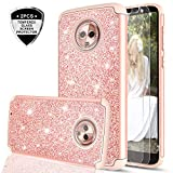 Moto G6 Case with Tempered Glass Screen Protector [2 Pack] for Girls Women,LeYi Glitter Sparkly Bling Dual Layer Hybrid Shockproof Protective Phone Case for Motorola G (6th Generation) TP Rose Gold