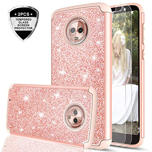 Moto G6 Glitter Case with Tempered Glass Screen Protector [2 Pack] for Girls Women,LeYi Sparkly Bling Dual Layer Hybrid Shockproof Protective Phone Case for Motorola G (6th Generation) TP Rose Gold