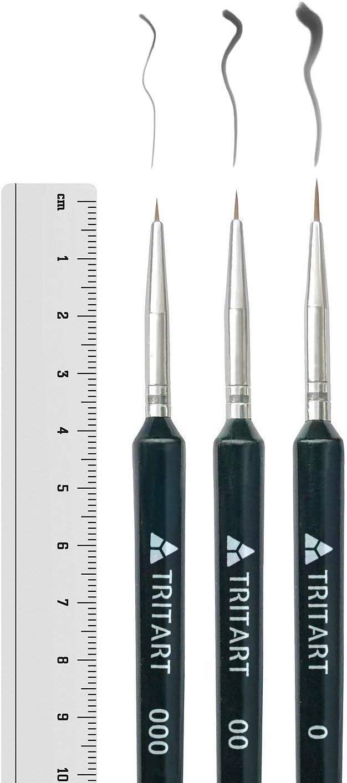 Tritart Pinselset fein Pinsel f/ür Aquarell Acryl und /Öl 3-er Set