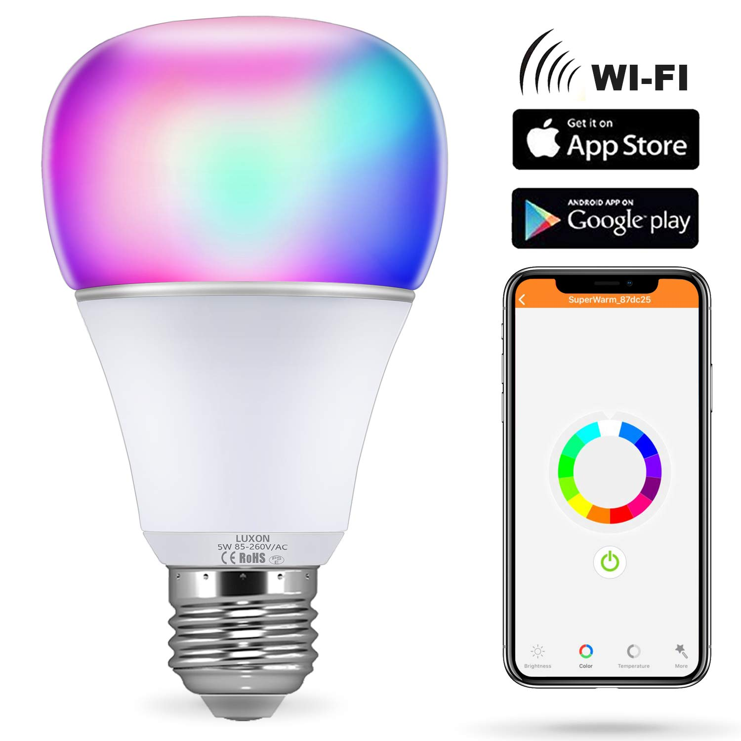 Smart WI-FI LED Light Bulb RGBW Color Changing E26 Base Smart Dimmable Light Bulb Smartphone Controlled Work with Amazon Alexa/ Google Home by LUXON