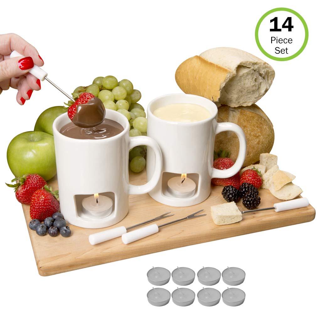 Evelots Fondue Mugs,2 Mugs,4 Forks & 8 Votive Candles, Black/White- 14 Piece Set