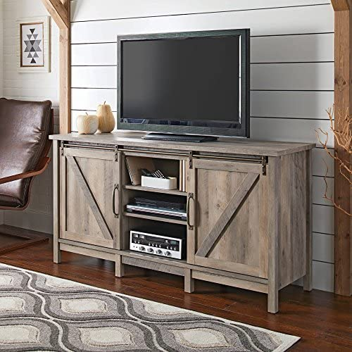 Modern TV Stand for TVs up to 60 , Rustic Gray Finish with 2 Sliding Barn Doors and 6 Adjustable Shelves
