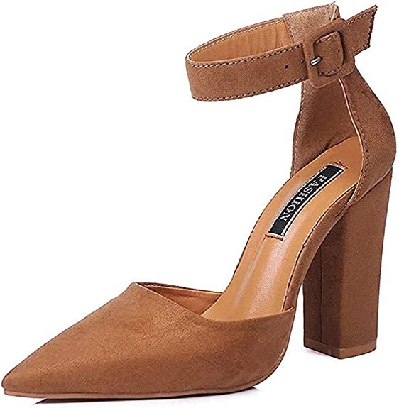 Details about  /Womens Pointed Toe Pumps Buckle Ankle Strap Kitten Med Heel Party Sandals Shoes