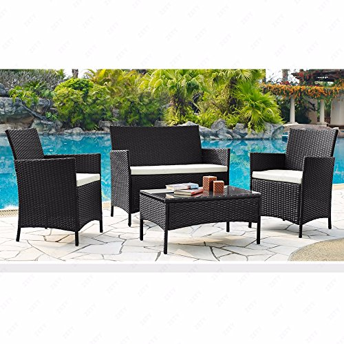 Mecor 4 piece outdoor rattan wicker patio furniture set for Outdoor furniture 4 piece