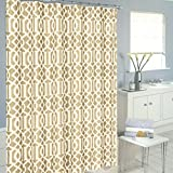 Luxurious Moroccan Trellis Shower Curtain Set with 12 Hooks (Light Brown)
