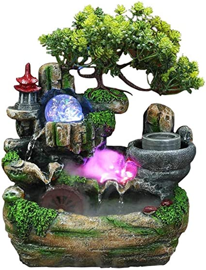 Zimmer-Brunnen Wasserfall Tischbrunnen Dekoration Wasserspiel+Farbwechsel LED DE