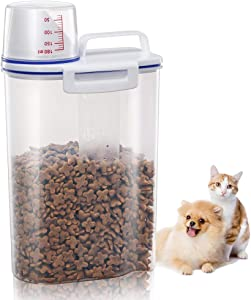 2 Pcs Pet Food Storage Container with Pour Spout and Measuring Cup, BPA-Free Plastic,Airtight Pet Dry Food Dispenser and Seal Buckles for Dogs Cats Bird