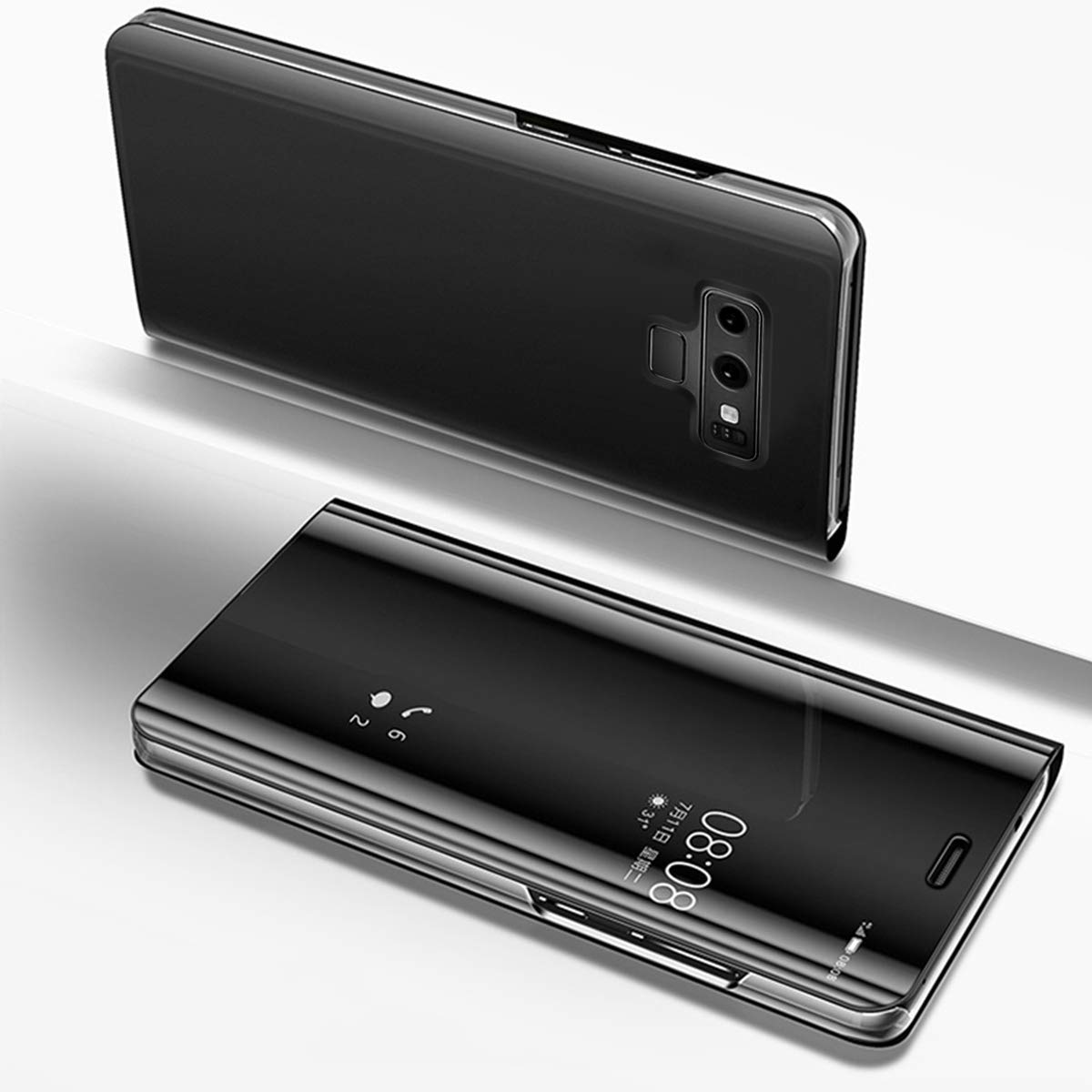 Herbests Compatible with Samsung Galaxy Note 9 Case Mirror Makeup Translucent View Window Flip Wallet Case Luxury Electroplate Plating Kickstand Case 360 Full Body Shockproof Cover,Black