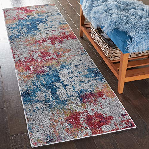 - Nourison GLB10 Global Vintage Contemporary Abstract Multicolor Area Rug Runner 2'4