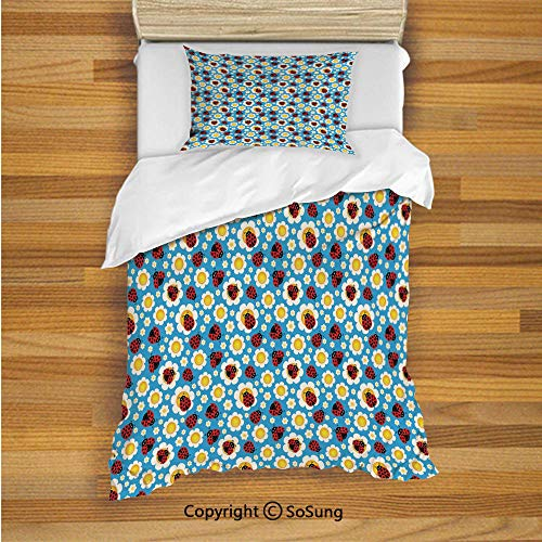 SoSung Ladybugs Kids Duvet Cover Set Twin Size, Abstract Daisies with Dotted Bugs Insects Ornamental Blooming Nature Inspirations 2 Piece Bedding Set with 1 Pillow Sham,Multicolor