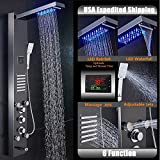 Zovajonia Stainless Steel Thermostatic Shower Panel Tower LED Rain&Waterfall With Massager System Body,Oil Rubbed Bronze Finish