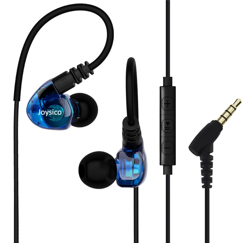 Joysico Sports Headphones Wired Over Ear In-ear Earbuds for Kids Women Small Ears, Earhook Earphones for Running Workout Exercise Jogging, Ear Buds with Microphone and Volume for Cell Phones MP3 Blue by Joysico