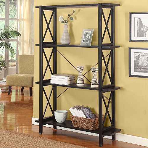 Bookcase with 4 Large Shelves with Antique Black Finish with Red Rub Through Classic X Design Display Shelf to House Your Favorite Collectibles (Bookcase Antique Large Black)