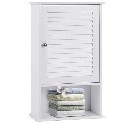 Amazon.com: WATERJOY - Armario de baño con barra y estante ...