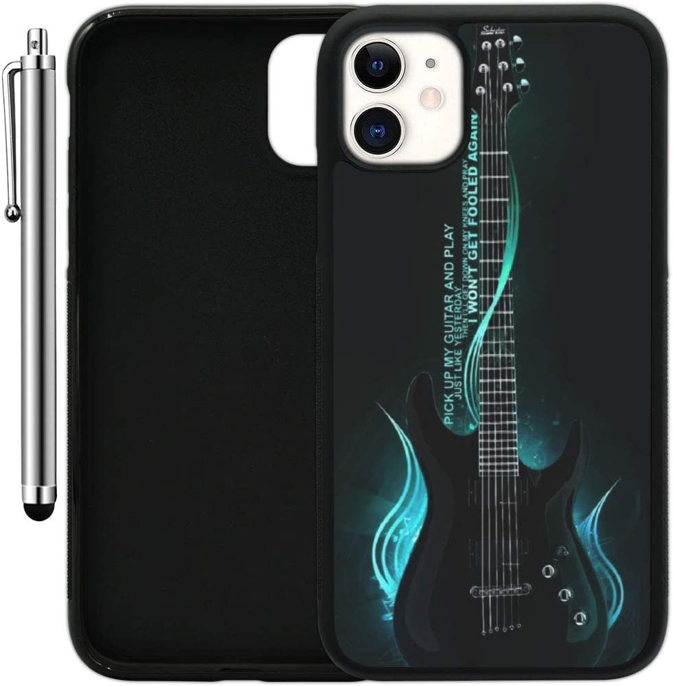 "Custom Case Compatible with iPhone 11 (6.1"") (One Cool Electric Guitar) Edge-to-Edge Rubber Black Cover Ultra Slim 