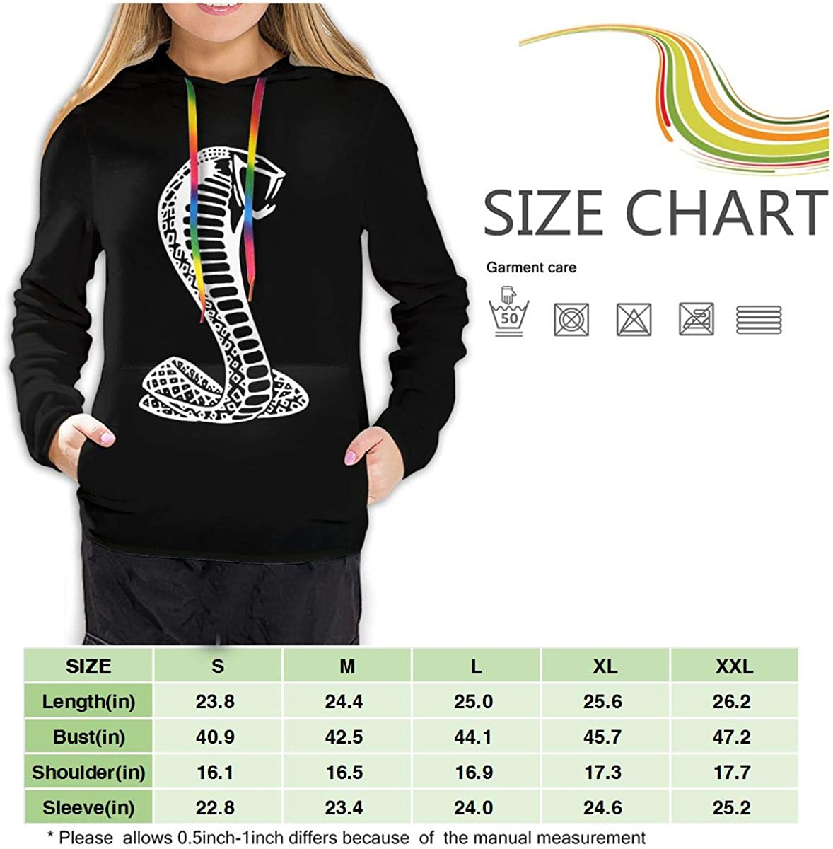 GmCslve Ford Mustang American Shelby White Snake Women Long Sleeve Hoodies Sweatshirts Pullover