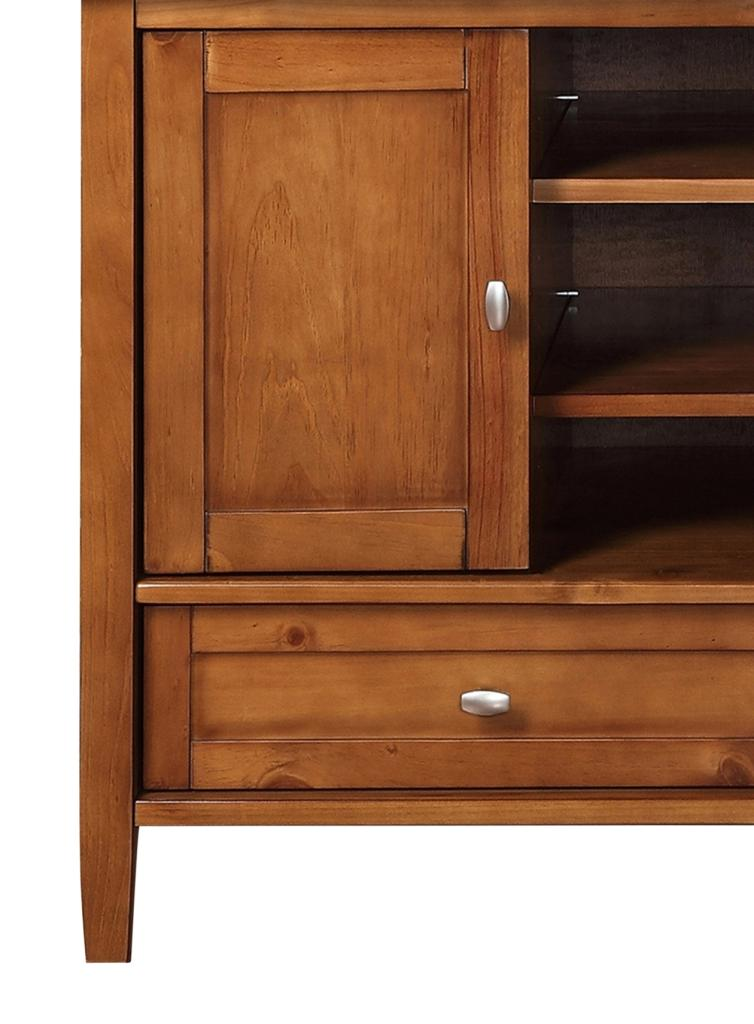 simpli home warm shaker tv media stand for tvs up to 52 honey brown kitchen dining. Black Bedroom Furniture Sets. Home Design Ideas