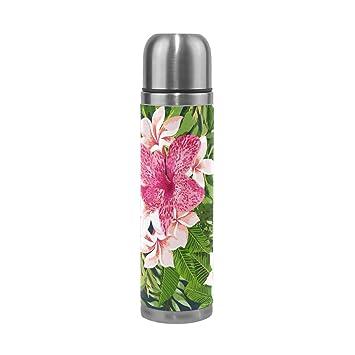 jstel Rainforest Leaf flores aislado al vacío botella de agua de acero inoxidable a prueba de