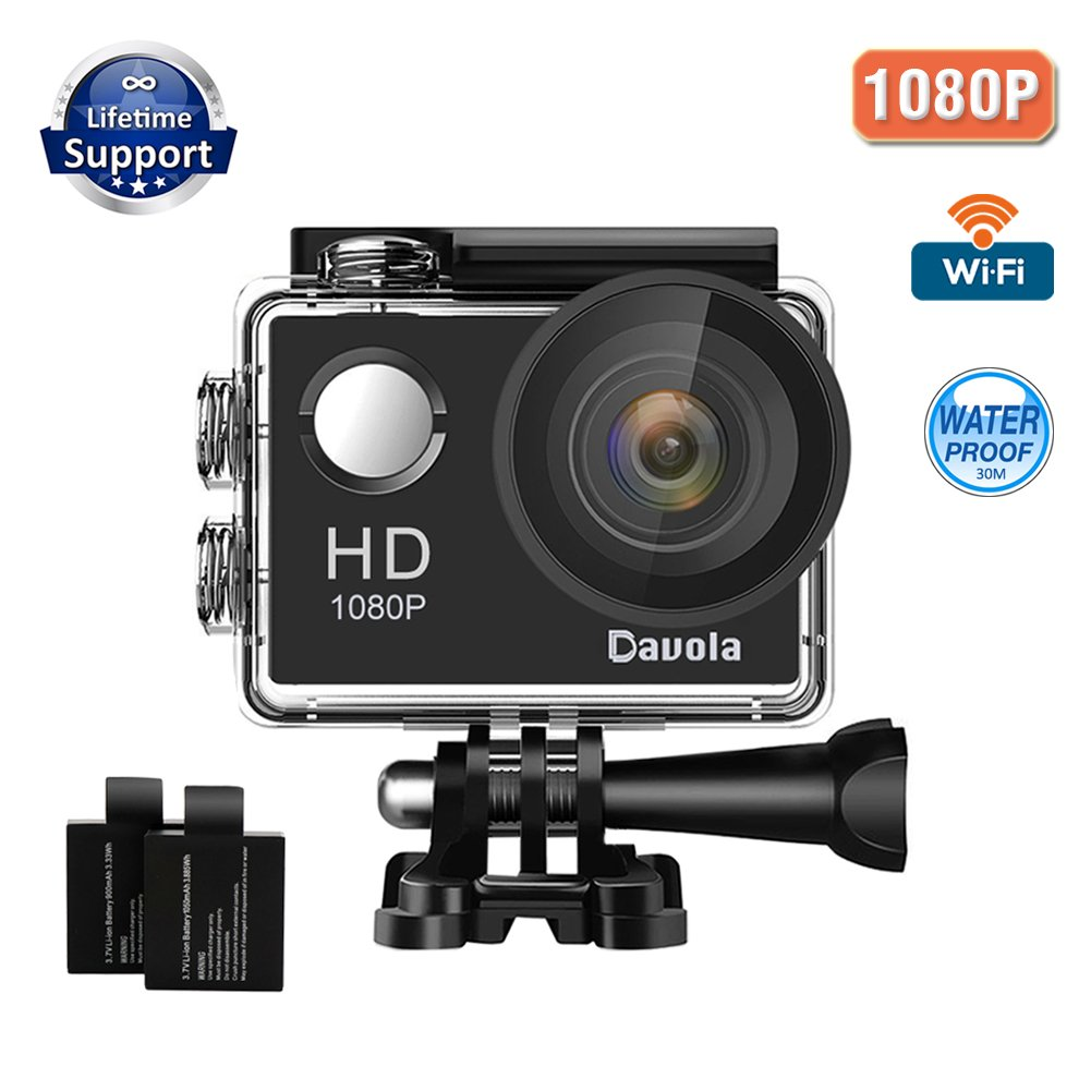 Action Camera Sport Camera 1080P Full HD Waterproof Underwater Action Camera Davola WiFi Control with 170° Wide-angle Lens 12MP 2 Rechargeable Batteries and Mounting Accessories Kit (Davola-1080P) by Davola
