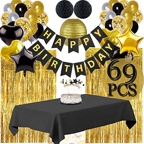 Black And Gold Party Supplies (Funnlot Black and Gold Party Decorations Black and Gold Party Supplies Including Happy Birthday Banners Black and Gold Balloons Pom Poms Flowers Black and Gold Tablecloth Black and Gold Party)