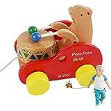JouerNow Walk-A-Bear Lungo Bussare il Tamburo in Legno e Spingere i Giocattoli Bambini per Neonati
