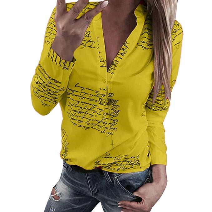 9f8991ff12e Primavera 2019 BBsmile Camisa Mujer Manga Larga Original Fiesta Letras de  Cuello v Botón de impresión