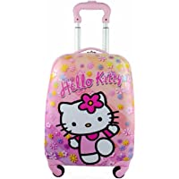 """Children Kids Holiday Travel Character Suitcase Luggage Trolley Bags 18"""" Hello Kitty Flower"""