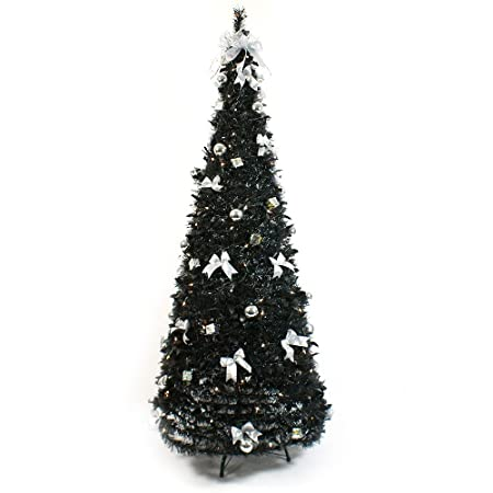 6Ft Pre Lit Artificial Pop Up Christmas Tree, Black with Decorations - 6Ft Pre Lit Artificial Pop Up Christmas Tree, Black With Decorations