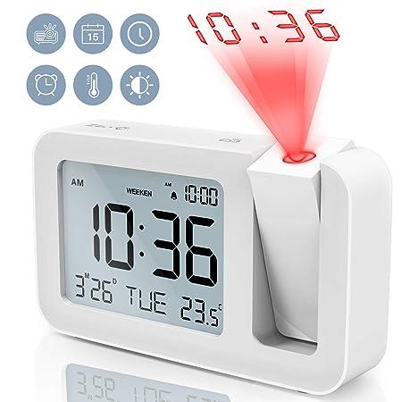 TedGem Despertador, Reloj Despertador Digital Despertador Proyector Despertadores Digitales Pantalla LCD de 3.8