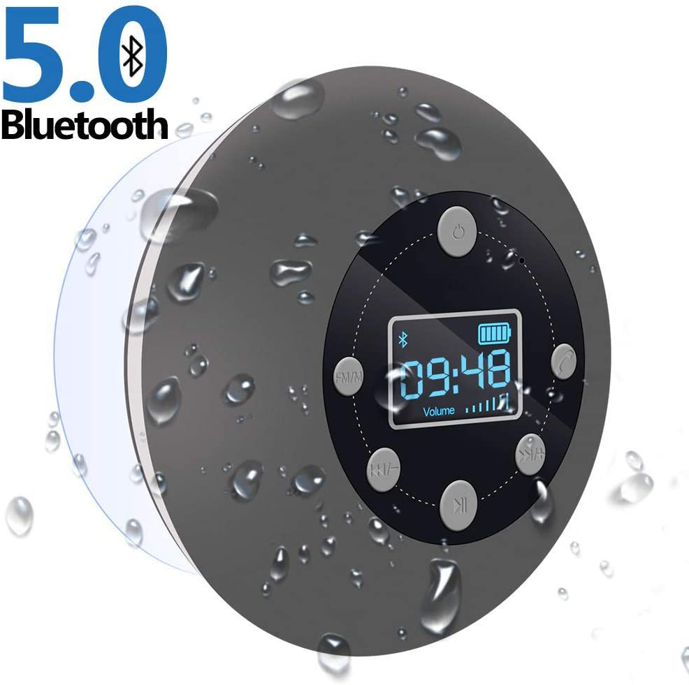 CIYOYO Water Resistant Wireless Bathroom Music with LCD Clock Display