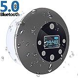 Shower Radio Bluetooth Speaker 5.0, CIYOYO Waterproof Wireless Bathroom Dab Music with Suction Cup FM Microphone 10 Hours LCD
