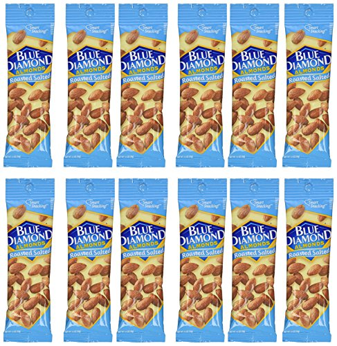 Blue Diamond Almonds, 1.5oz tubes, Roasted Salted, 12 ea