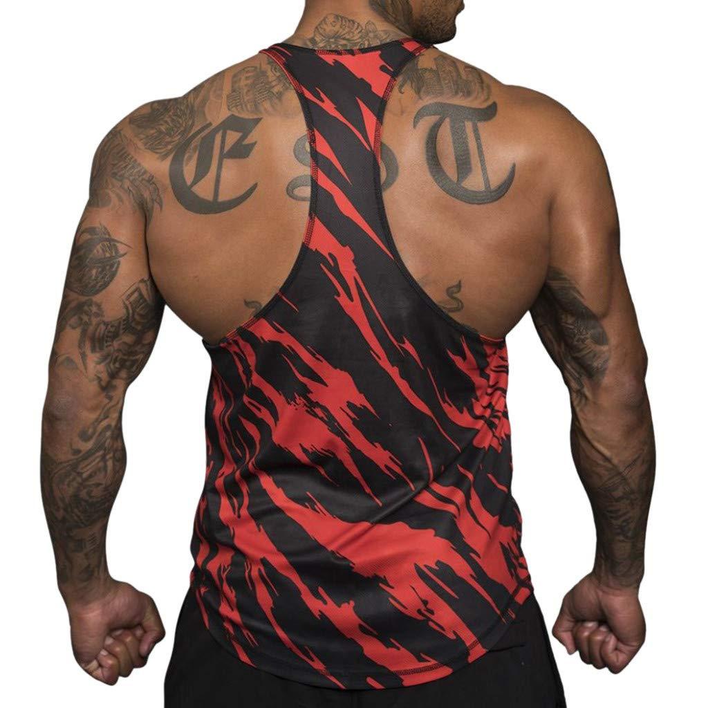 fc041dea55fc03 Amazon.com  NUWFOR Men s Muscle Sleeveless Tank Top Tee Shirt Bodybuilding  Sport Fitness Vest  Sports   Outdoors