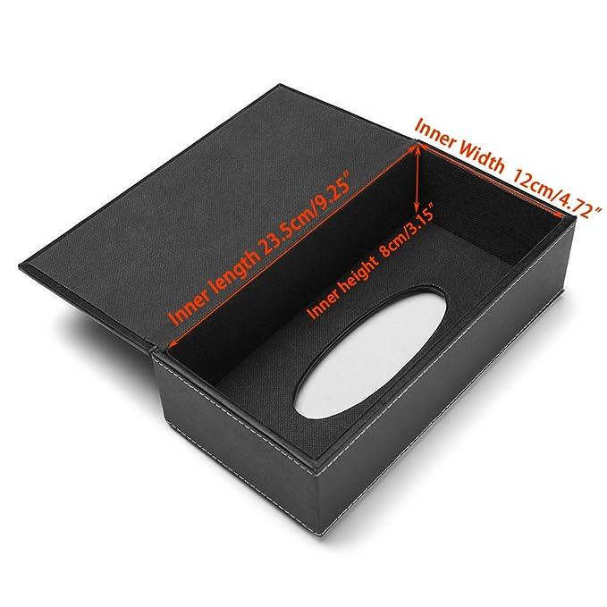 BTSKY - Caja de Pañuelos de Poliuretano y Cuero, Forma Rectangular, Ideal para Oficina Hogar Color Negro: Amazon.es: Hogar