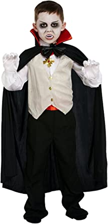 Childrens Black And White Vampire Dracula Wig Halloween Fancy Dress