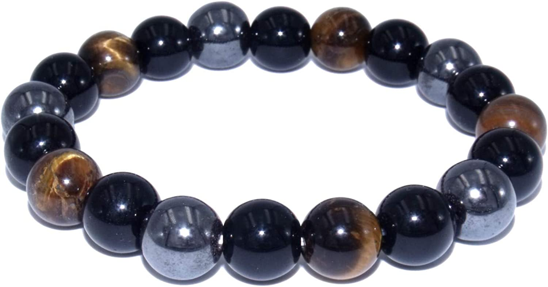 Pulsera de triple protección con obsidiana de ojo de tigre y piedras naturales de hematita, tamaño 18 cm, cuentas 1 cm.