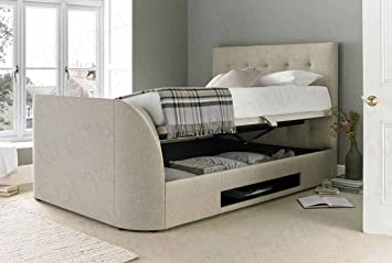 Kaydian 5ft King Size Barnard In Oatmeal Fabric TV Ottoman Storage Bed Frame