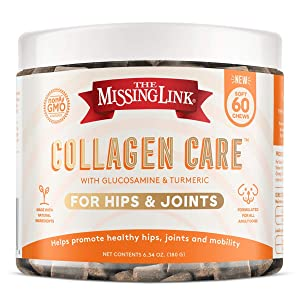 The Missing Link Collagen Care Hips & Joints Dog – Advanced Arthritis Joint Pain Relief with Collagen, Glucosamine, Chondroitin, Turmeric – 60 Soft Chews