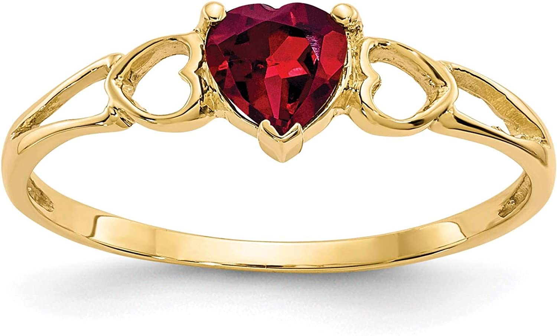 14K Yellow Gold Polished Heart Rhodalite Garnet June Stone Ring Size 7