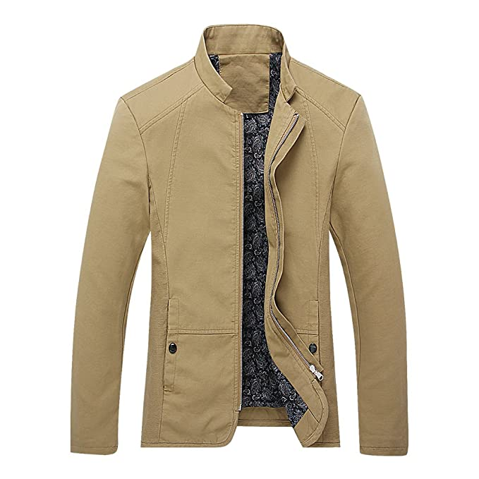 ebeaf9408ef7 Bee Late Men s Autumn and Fall Stand Coar Outerwear Jacket Coat ...