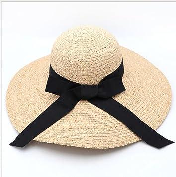 Sombrero de paja respirable Sombrero de sol de ala grande Sombrero de playa  de verano para 88464bd5b8d