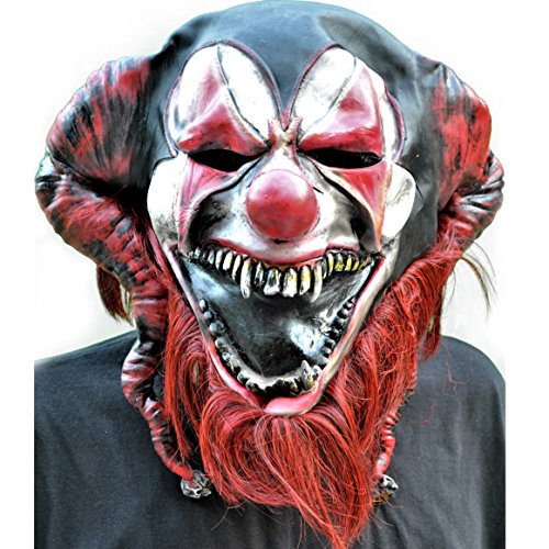 Morbid Enterprises Bearded Red Jester Mask, Black/Red/White, One -