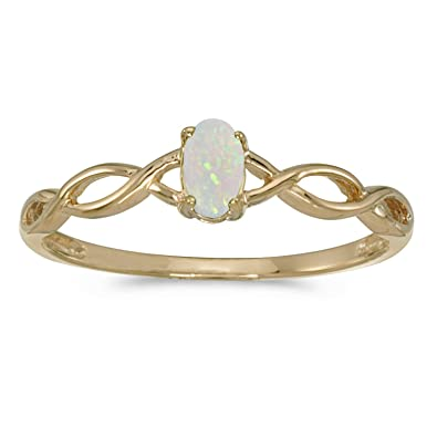 14k White Gold Oval Opal Ring