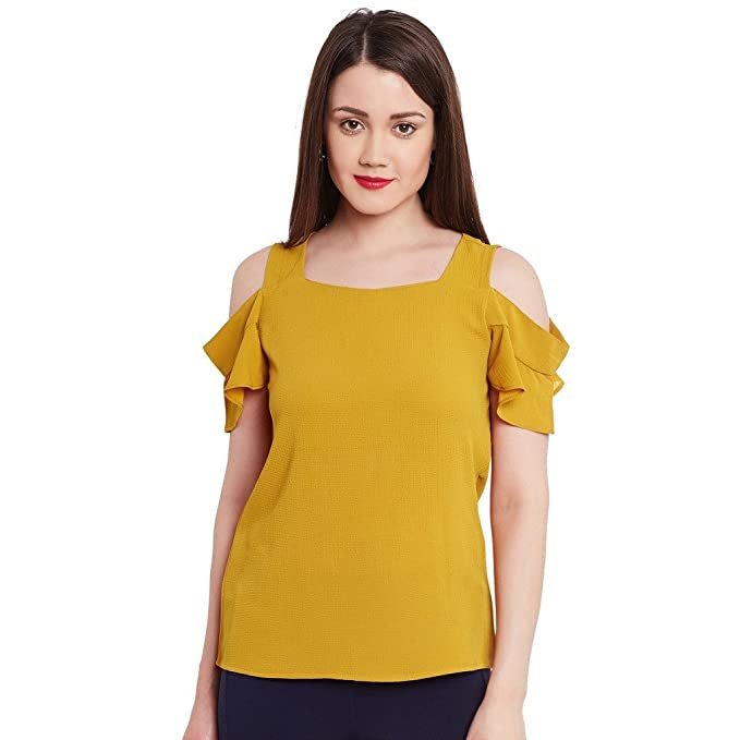 ad91d46959148 Pannkh Women s Mustard Polyester Cold-Shoulder Plain Solid Top ...