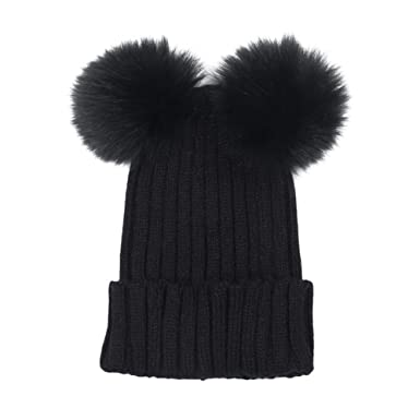 Bluelans® Womens Ladies Girls Knitted Winter Beanie Double Pom Pom Bobble  Hat (Black) bfc82cd575c