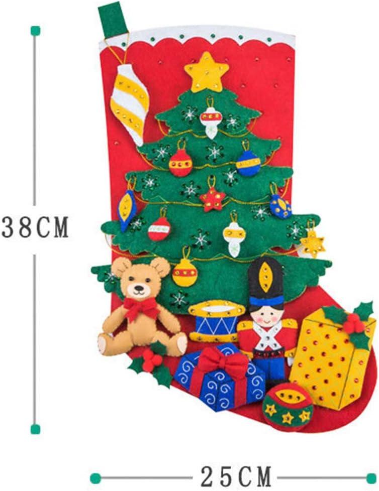 LIOOBO DIY Christmas Stocking Making Kit Handmade Non-Woven Fabric DIY Stocking Materials Hanging Bag Materials for Teens Toddlers Kids