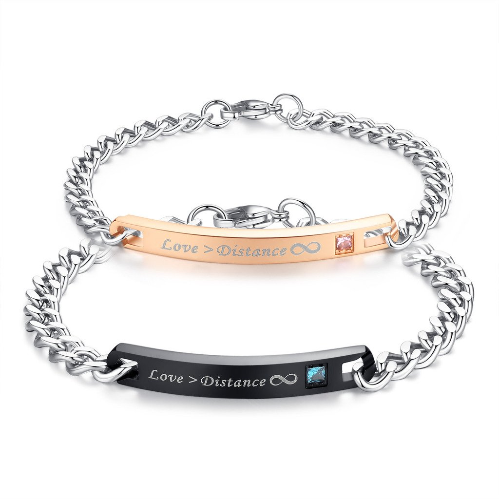 COAI Anti-Scratch Matte Stainless Steel ''Love > Distance'' Long Distance Relationship Couple Bracelet