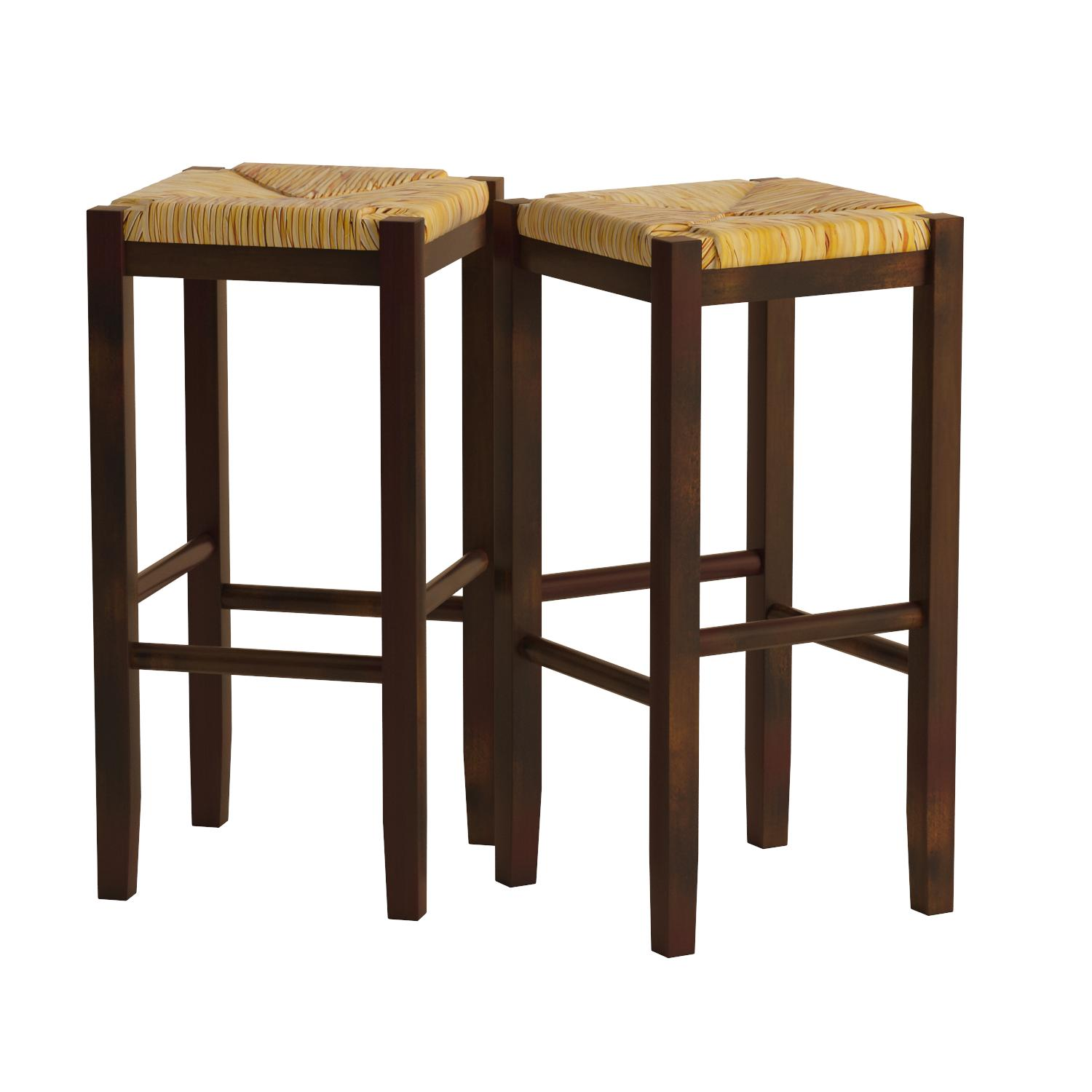 Amazoncom Winsome Wood 29 Inch Square Rush Seat Bar Stool, Set
